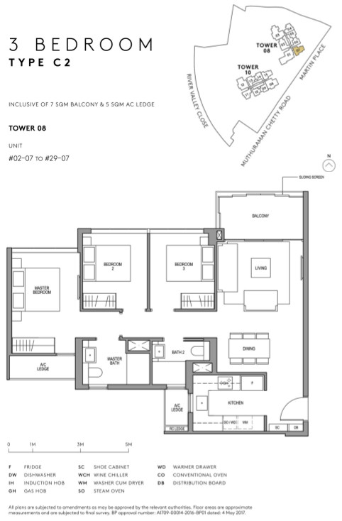 Martin Modern Condo Floor Plan Layout 3 Bedroom Type C2