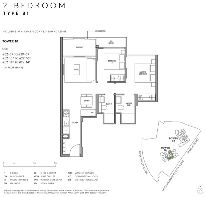 Martin Modern Floor Plan Layout 2 Bedroom Type B1
